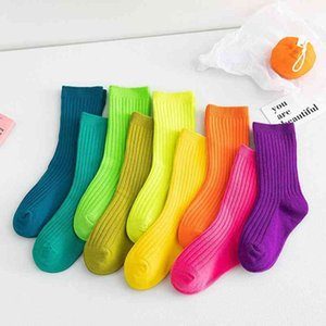 Children's autumn winter new solid color children's pile baby boys and girls middle tube socks