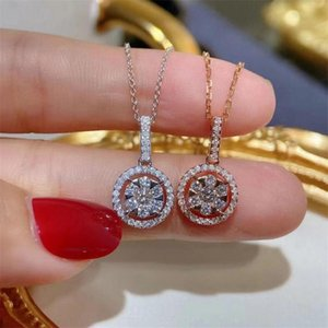 Choucong Brand Women's Fashion Circle Pendant Luxury Jewelry 925 Sterling Silver Rose Gold Fill Sparkling Eternity 5A Cubic Zircon Diam