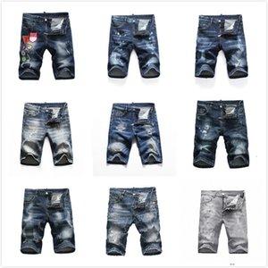 Erkek Kot Erkek Kısa Denim Kot Düz Delikler Sıkı Rahat Yaz Gece Kulübü Mavi Pamuk Erkekler Pantolon İtalya Stil DHJ1 HGZG