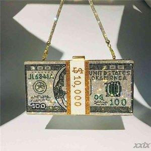Money Clutch Purse 10000 Dollars Stack of Cash Evening Handbags Shoulder Wedding Dinner Bag 8 Color 210908