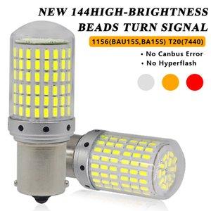 CANBUS PY21W BAU15S W21W 7440 T20 P21W BA15S 1156 3014 144SMD LED Araba Dönüş Sinyal Işıkları Fren Işık