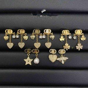 Luxury designer earrings New letter heart-shaped man diamond home style versatile Earrings female S925 silver needle