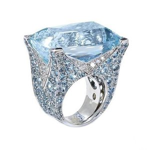 Exquisite Ladies Jewelry Exaggerated Atmosphere Blue Square Moon Stone Ring Bride Engagement Wedding Size 6-10 Rings