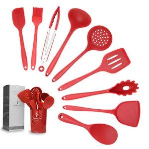 10 pz / set silicone cottura utensile cucchiaio zuppa siviera Spatola spatola tornitore forchetta Tins resistente al calore strumenti cucina accessori xbjk1911