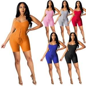 Womens Summer Fashion Clothes Slim Sexy Jumpsuits Solid Color Deep V-neck Suspender Corns Binding Bodysuit Ladies Casual Rompers 2021