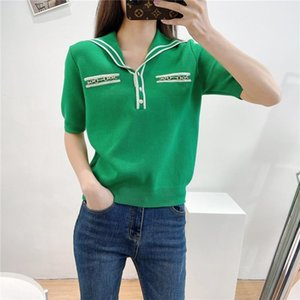 Green T Shirt Women 2021 Summer Tops Turn-down Collar Half Button Up Black Tshirt Short Sleeve Tee Ladies White Women's T-Shirt