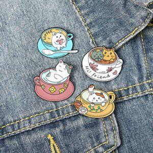20pcs Lot Cute Cartoon Coffee Cat Cup Brooches Alloy Enamel Collar Flowers Pins Friend Women Men Design Brooches Jewelry Accessories 739 Q2