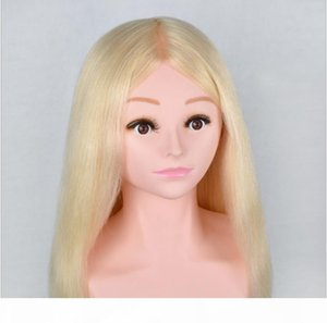 White shoulder prosthetic headform can be ironed and curled for real hairdressing wig model
