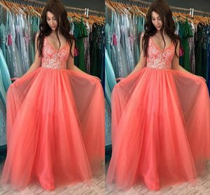 2021 Coral Prom Dresses Spaghetti Straps A Line Lace Tulle Floor Length Custom Made Evening Gown Formal Occasion Wear vestidos