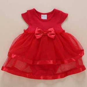 Born Baby Dress Girl Summer 1 Year Birthday Clothes Pink White Red Party Bow Knot Clothing With Rompers Dresses Girl's