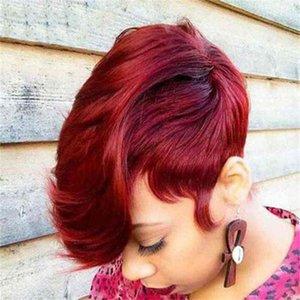 Wig Female Short Hair Wine Red Rose Net High Temperature Silk Chemical Fiber Head