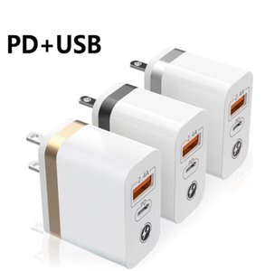 USB A 18W wall Charger Type C PD 2.4A Fast Charging US Plug Charger adapter for All Phone samsung huawei white