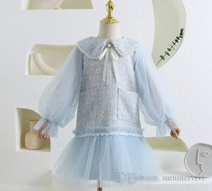 Girls plaid woolen splicing lace tulle dress children pearls lapel gauze puff sleeve princess dresses lady style kids clothing Q1315