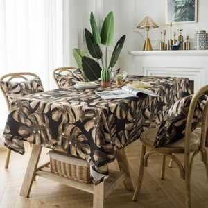 Table Cloth Cotton Coffee Bar Tablecloth Retro Leaves Printed Rectangle Home Kitchen Runner For Party Banquet Dining