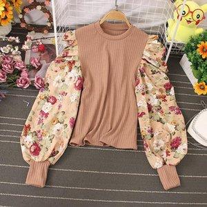 Black Yellow Khaki Patchwork Blouse Women O-Neck Flower Lantern Long Sleeve Shirt Female Slim Short Tops Autumn 2021 Fashion Women's Blouses