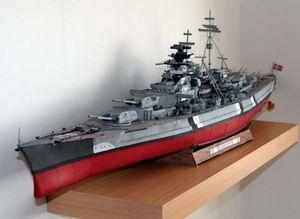 1: 250 Ölçekli Alman Bismark Battleship G182 DIY 3D Kağıt Kart Modeli Binası Setleri İnşaat Oyuncaklar Eğitim Askeri Model
