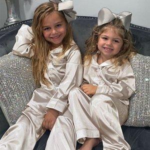 Kids Silk Satin Pajamas Set Long Sleeve Sleepwear for Children Casual Nightwear Spring Autumn Homewear Girl Boy Pajama Sets