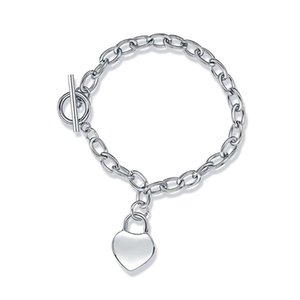 Love Heart Bracelets For Women Fashion Jewelry Stainless Steel Silver Color Chain Simple Design Charm T Bracelet Girls Lady Gift Link,