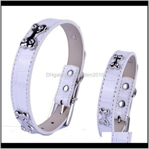 & Leashes Small Dog Collars Pu Croc Leather Rhinestones Bone Studded Collar Adjustable Size S M Pet Neck Strap Wlj56 A29Xu