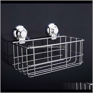 Storage Holders Racks 304 Stainless Steel Strong Suction Shower Dual Sucker Bathroom Shelf Washing Room Kitchen Corner Basket Wall Mou Mxb3I