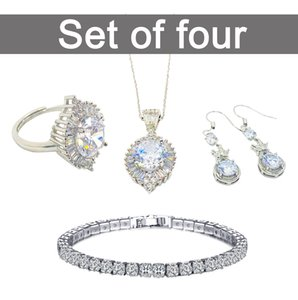 Women's Party Dress Jewelry Bridal Wedding Accessories Angel Eyes Design White Rhinestones Necklace Earrings Ring Bracelet Set Birthday Gift Box Packaging