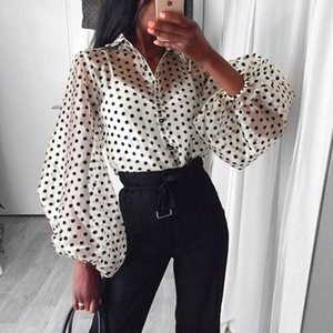 Fashion Dots Blouse Women Sexy Sheer Polka Dot Organza Blouse Top Perspective Puff Sleeve Blusas Women Shirts
