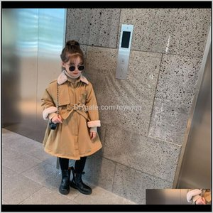 Winter Arrival Korean Style Girls Long Coat Thickened Fur Inside Fashion Windbreak Jacket With Belt For Cool Baby Hzdux Lsgx4