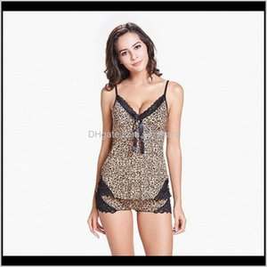 Womens Underwear Apparel Drop Delivery 2021 Sexy Silk Satin Lace Strap Sleeveless Print Leopard Pajama Set Sleepwear For Women Lounge Pyjamas