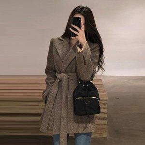 Шикарная осень зима корейская шерсть пиджака с поясом Винтаж для женщин с длинным рукавом офис леди костюм куртка OL пальто варенье женские костюмы Blazer