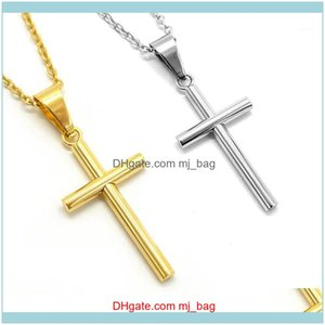 Pendants Arts, Crafts Gifts Home & Garden Stainless Steel Cross Necklace Pendant Men Women Gold Sier Color Crystal Link Chain Prayer Necklac