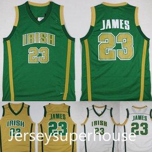 Mens Lebron James St. Vincent Mary High School Irish Jerseys Basquetebol Camisetas Lebron James # 23 Stitched Jersey Charp Shirts S-XXL