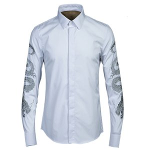 tee shirt shirt Men Shirt Luxury Unique Gold Dragon Design Mens Fashion Embroidery Long Sleeve Casual Slim Fit Shirts Man 4XL