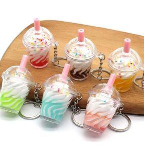 120Pcs Fashion Ice Cream With Coffee Key Chain Women Cute Creative Boba Bubble Drinks Keychain for Kids Girl Handbag Pendant Trinkets Gift Hanging Decor HYS36-3-10