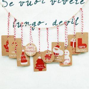 Gift Wrap 50PCS Merry Christmas Kraft Paper Tag Tree Decoration Card Label Hang Tags Snowman Xmas Pendant Ornaments