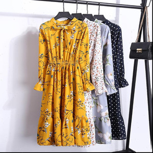 Chiffon High Elastic Waist Women Dresses Party Dress Bow A line Full Sleeve Flower Print Floral Bohemian Vestido Plus Size