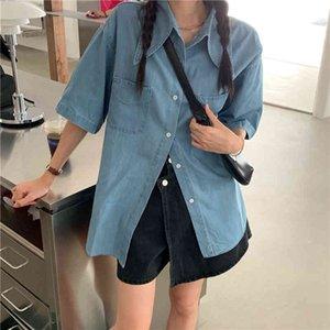 Denim Blusa Blusa Femininas Vintage Slido Coreano Solto Camisa Feminina Meia Manga Camisas MUJER TOPS 1601F