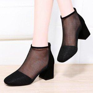 Black Sexy Ankle Mesh Boots Heel Sandles Women Sandels Summer Runway Shoes Wide Fit Breathable Short Block Big Size 9