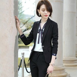 Ladies Blazer And Skirt Set Women's Suit 2 Piece Set stripe business Blazers slim long sleeve office uniform designs women1