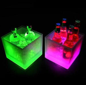 3500ml Rectangle LED Light Ice Buckets Luminous Double Layer Square Bucket Plastic Non Toxic Waterproof Kitchen Bar Tools Durable SN2593