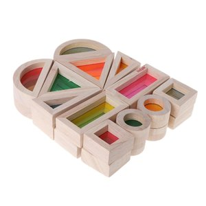 Rainbow Acrylic Wooden Building Blocks Baby Educational Toy Montessori Kids toy K716