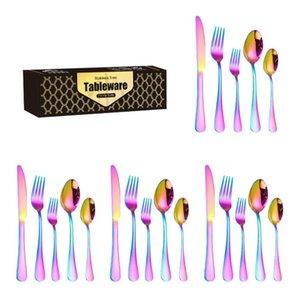 Dinnerware Sets Gold Black Silverware Satin Finish 20Piece Stainless Steel Flatware set Tableware Cutlery Service 5 Utensils for Kitchens Dishwasher Safe