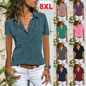 Women's Tops Summer Casual T-Shirt short sleeve lapel Buttons shirt Loose Sexy Tees 9 colors Plus Size S M L XL 2XL 3XL 4XL 5XL 6XL 7XL 8XL