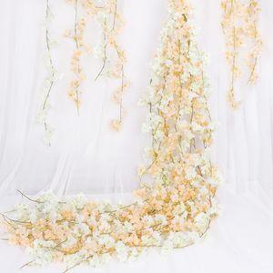 180см искусственный цветок лозы шелковины вишневые вишни пластиковая лоза для сада украшения дома искусственный цветок поддельный 640 R2