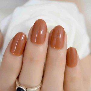 Светло-коричневый UV Nail Art Tips Pure Color Colrect Colread Полная крышка Акриловые конфеты Nails Kit для Office Home Женские Палч-патч 600X
