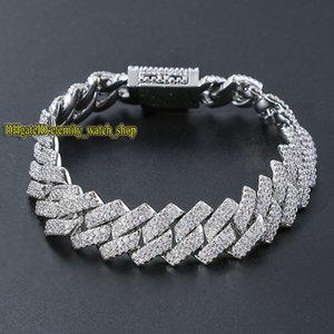 eternity European and American hip hop micro-set diamonds bracelet mens high quality bar 14mm CZ Diamond men Cuban bracelet large gold chain