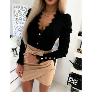 Sexy Elegant Office Lady Deep Button V Neck Lace Patchwork Puff Long Sleeve Evening Party Club Wear Shirt Blouse Tops Women's Blouses & Shir