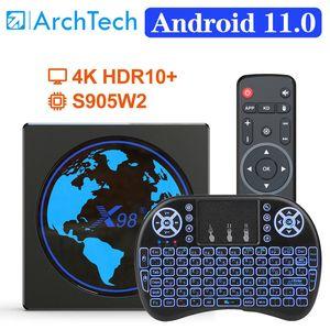 X98 mini Smart TV Box Android 11 4G 64GB Amlogic S905W2 X98mini AV1 Wifi BT H.265 Youtube Media Player 4GB32GB Set TopBox