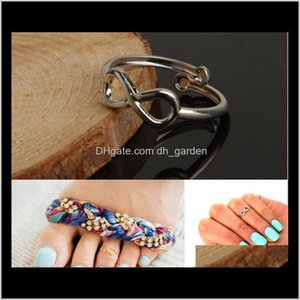 Drop Delivery 2021 Lady Women Toe Rings Vintage Simple Infinity Midi Finger Ring Unique Gold Sier Adjustable Foot Jewelry Beach Retro Stylish