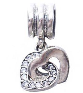 S925 Sterling Silver Interlocking Love Dangle Charm Bead with Clear Zirconia Fits European Pandora Jewelry Bracelet ps2075