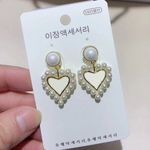 2X3CM C letter fashion pearl alloy silver needle earrings with gift box,for ladies collection luxury design earrings jewelry party gift